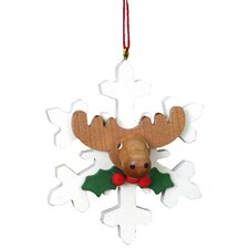 Christian Ulbricht Elk on White Snowflake Ornament
