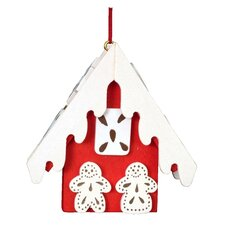 Christian Ulbricht Red Gingerbread Frosted House Ornament