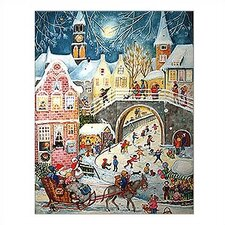 <strong>Alexander Taron</strong> Large Santa and Skaters Advent Calendar