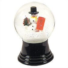 Medium Snowman with Gift Snow Globe