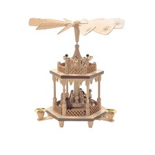 2 Tier Natural Wood Nativity Scene with Angels Pyramid