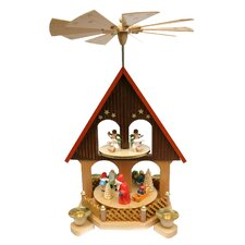 Wood 2 Tier House with Santa Pyramid