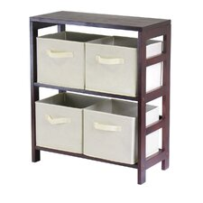 <strong>Winsome</strong> Capri Low Storage Shelf with 4 Foldable Baskets