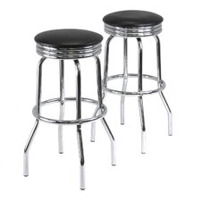 Summit Swivel Bar Stool in Black (Set of 2)