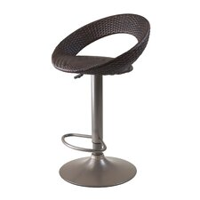 Bali Airlift Stool with Swivel Woven Seat in Cappuccino