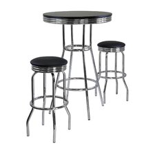 Summit 3 Piece Pub Table with Swivel Stool in Black