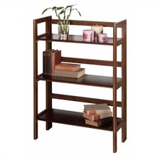 "Basics 39"" H Antique Walnut Folding Three Tier Bookshelf"
