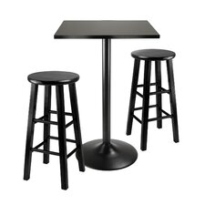 <strong>Winsome</strong> Obsidian 3 Piece Counter Height Dining Set
