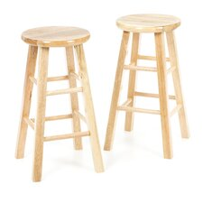 "24"" Backless Square Leg Bar Stool (Set of 2)"