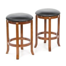 "Antique Walnut 24"" Swivel Bar Stool (Set of 2)"
