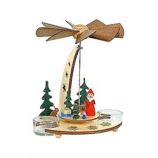 Lacquered Wood Santa in Forest Pyramid Candle Holder