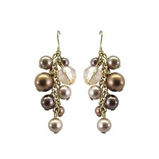 Simulated Cultured Pearl with Crystal Drop Earrings