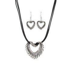 <strong>Roman</strong> Artisan Heart with Black Leather Cord Necklace and Earring Set