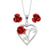 Sterling Silver Aluminum Rose Earrings and Necklace Set