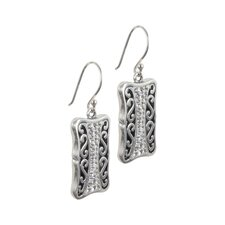 <strong>Sunstone</strong> Bali Bling Sterling Silver Filigree Clear Crystal Pave Earrings
