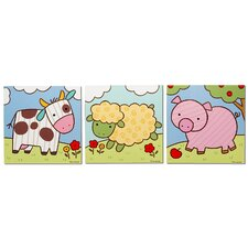 Farm Animals 3 Piece Graphic Art Plaque Set