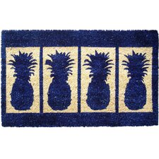 Four Pineapples Extra Thick Handwoven Coconut Fiber Doormat