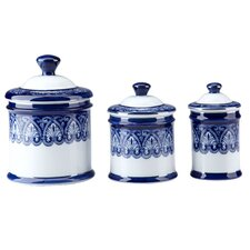 Blue & White 3 Piece Tile Lidded Decorative Canister Set