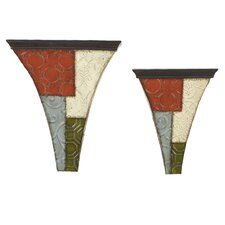 <strong>Bombay Heritage</strong> Patchwork Wall Shelves (Set of 2)