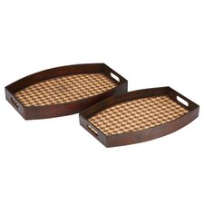 Houndstooth Woven Wood Tray (Set of 2)