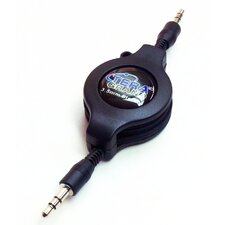 3.5 mm Male to Male Stereo Retractable Cable, Black 1.2M