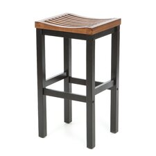 "29"" Black Contour Stool w/ Oak Top"