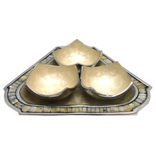 3 Piece Bowl and Triangular Tray Set