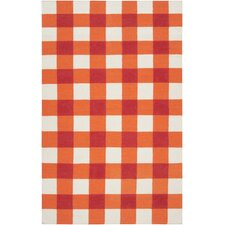 Happy Cottage Orange-Red / White Rug