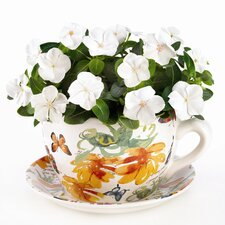 Floral Butterfly Teacup Planter
