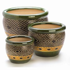 Diamond Pattern Planter in Jade (Set of 3)