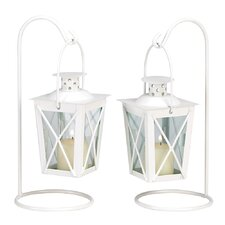 Modern Style Iron and Glass Lanterns (Set of 2)