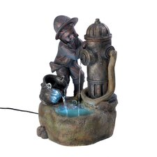 Young Fireman Polyresin Fountain