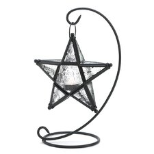 Clear Star Iron and Glass Lantern