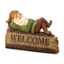 Snoozing Gnome Garden Welcome Sign