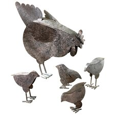 Mother Hen and Chicks Country Garden Statue Set