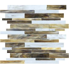 """Baroque 13.25"""" x 12"""" Random Strip Stained Glass Mosaic in Corallo"""
