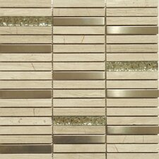 "Fusion Series 5/8"" x 4"" Mixed Metal Glass Marble Mosaic in Multi"