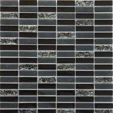 Jayda Series Glass Mixed Crackled Mosaic in Black