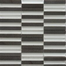 Opus Series Mixed Glass and Marble Mosaic in Basalt