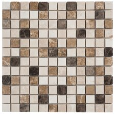 "Spanish Blend 1""x1"" Marble Mesh-Mounted Mosaic in Multi"
