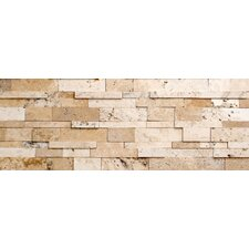 "Wall Cladding 6"" x 24"" Honed Cubic Travertine Mosaic in Beige and Grey"