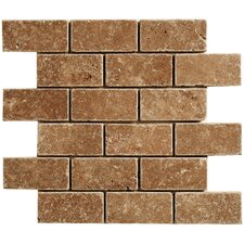 "Noce Travertine Mosaic Brick Tumbled 14"" x 12"" Tile in Brown"