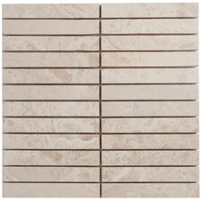 Travertine Mosaic Stacked Filled and Honed Tile in Light Ivory