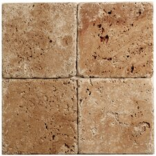 "<strong>Faber</strong> Noce Travertine Mosaic Tumbled 4"" x 4"" Tile in Brown"