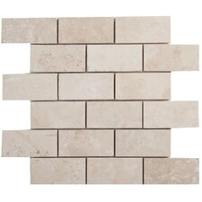 "Light Ivory Brick 4"" x 2"" Travertine Filled and Honed Mosaic"