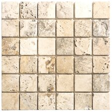 "Philadelphia Travertine Mosaic Tumbled 12"" x 12"" Tile in Beige and Gray"