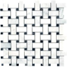 Carrara Extra Random Sized Marble Mosaic Basketweave Polished Tile in White