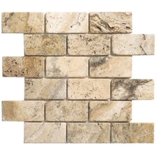 "Philadelphia Brick 4"" x 2"" Travertine Tumbled Mosaic in Beige and Gray (Set of 10)"