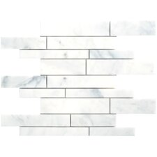 Carrara Extra Random Strip Sized Marble Polished Mosaic in White