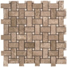 Emperador Basketweave Random Sized Light Marble Polished Mosaic in Beige and Brown